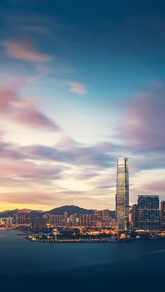 Hong Kong Sunset Skyscraper City Bay iPhone 5 Wallpaper