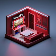 My first try at this type of minimal design. Small Game Rooms, 3d Design, House Design, Cheap Tiny House, Cube World, Video Game Rooms, Bedroom Setup, Gaming Room Setup, Isometric Design