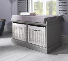 Tetbury Grey Bench with 2 White Storage Baskets