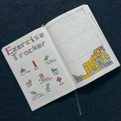 Bullet journal exercise tracker, Tetris drawing.   @mkaybujo