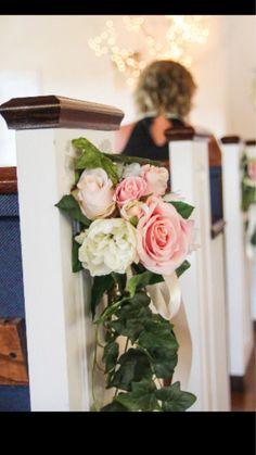 Church Pew Flowers, Church Wedding Decorations Aisle, Aisle Flowers, Wedding Reception Flowers, Rustic Wedding Flowers, Wedding Flower Decorations, Wedding Chairs, Wedding Church Aisle, Pew Decorations