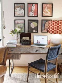 Oslo chair, Hendrix desk + Eloise table lamp from Crate & Barrel. Ikat shade from Hollywood at Home.