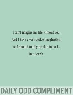 Daily odd compliment - I can't imagine my life without you. And I have a very active imagination, so I should totally be able to do it. But I can't Just In Case, Just For You, Love You, My Love, The Words, Me Quotes, Funny Quotes, Famous Quotes, Life Without You