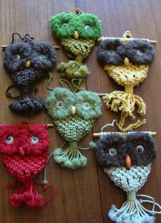 Lovely array of macrame owls....