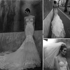 Weddbook ♥ Inbal Dror Sexy and Feminine Wedding Dresses. Charming sweetheart neckline strapless body loving and figure-hugging mermaid wedding dress. Stunning strapless mermaid wedding dress with detailed back and the unique train. Perfect and Cheap Bride Wedding Dress Gown Bridal Custom Size.