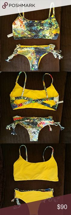 San Lorenzo Floral print/Yellow set. Sport Cross Back top- XL. Braided twist bottoms-L. Runs VERY small. Super soft. Worm one time. Reversible to solid yellow San Lorenzo Swim Bikinis