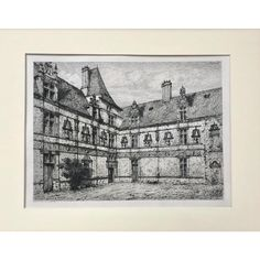 Antique French Etching Chateau Courtyard by Eugene Sadoux C. 1860 | Chairish