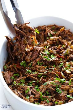 Barbacoa Beef -- tender, flavorful, and made extra easy in the slow cooker. Sub 1/2 to 1 teaspoon chipotle powder for the chipotles in adobo for Phase 3.