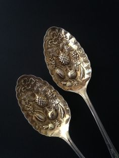 Cooper Bros Silverplate Serving Spoons Heavy Embossed Fruit Vegetable Gold Wash Priced at $34.00
