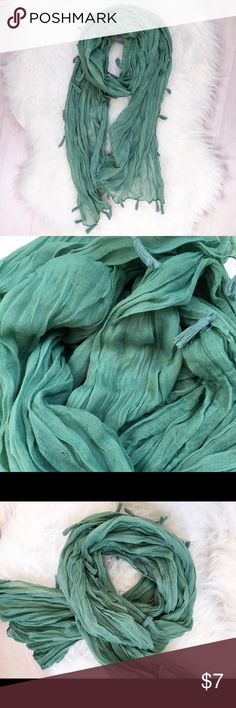 Teal Tassle Lightweight Scarf Semi-sheer teal scarf with pretty tassels along edges. Some minor fabric pulling but otherwise great condition! Accessories Scarves & Wraps