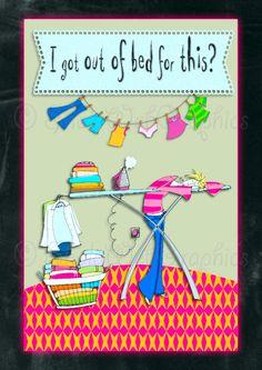 Das bisschen Haushalt! - Dafür aus dem Bett? A4 Bogen (PU,S4H) Scrapbook von SholaWebGraphics auf Etsy