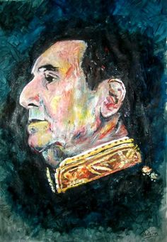"""El General"" Juan Domingo Peron - mixed media - 28x40 inches - Original art by Marcelo Neira"