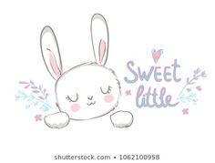 Cute Little Drawings, Cute Animal Drawings, Easy Drawings, Bunny Drawing, Bunny Art, Hase Tattoos, Sweet Logo, Bunny Tattoos, Rabbit Crafts
