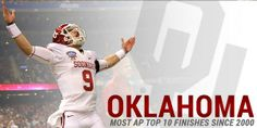 Oklahoma Football Milstone Graphic - Most AP Top 10 Finishes of All-Time