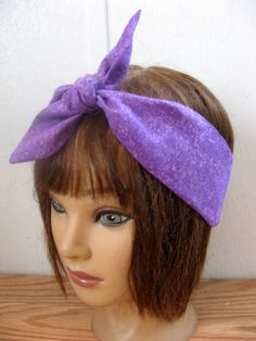 Hair Headband, PinUp Hairband, Purple Hair Band,  Headband  Accessory, Neck Scarf, Hair Scarf, Batik Headband,  Rockabilly Hairband  211 by StitchesByAlida on Etsy