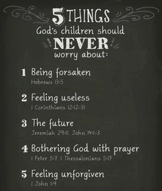 5 Things God's Children should NEVER worry about.