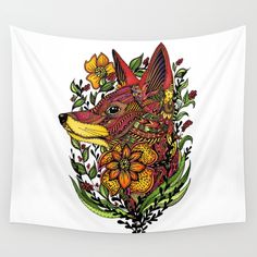 Red Fox Wall Tapestry by Salome | Society6