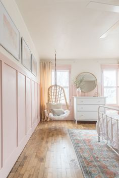 Pink and Gold Girls Bedroom. hanging wicker chair in pink and gold girls bedroom. A beautiful Pink and Gold Girls Bedroom with a modern yet delicate touch, fun seating, and functional desk space perfect for all ages! Big Girl Bedrooms, Pink Bedrooms, Little Girl Rooms, Teen Bedroom, Girls Pink Bedroom Ideas, Girls Shared Bedrooms, Kids Bedroom Ideas For Girls, Cool Bedroom Ideas, Rustic Girls Bedroom