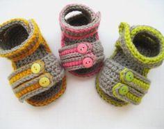 Ganchillo patrones botitas zapatos unisex niños o chicas por ketzl