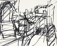 Frank AUERBACH  Sketch; To the studios 1977  Ink on paper, 29.5 x 34.3cm