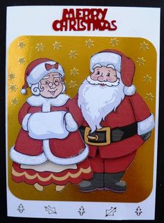 Mr Mrs Claus Print And Cut on Craftsuprint created by Marion Enefer - This was so easy to make - cut out on Craft Robo after printing onto good card stock - made up Mr