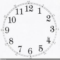 Good to layer over a background image in a graphics program for a custom printable mini clock. Paper Clock, Clock Art, Diy Clock, Wall Clocks, Clock Face Printable, Printable Wall Art, Luv Letter, Clock Template, Clock Painting