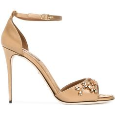 Dolce & Gabbana Embellished Stiletto Sandals ($1,145) ❤ liked on Polyvore featuring shoes, sandals, open toe shoes, ankle strap stiletto sandal, high heel stilettos, embellished sandals and heels stilettos