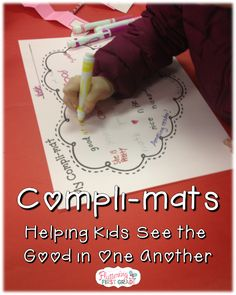 Kindness Activity for Kids Compli-Mats : Kindness activity for kids. Compli-Mats help kids see the good in one another. kindness activity for kids, character counts, Teaching Kindness, Kindness Activities, Valentine Activities, Classroom Activities, Activities For Kids, Classroom Ideas, Holiday Activities, Sensory Activities, Educational Activities