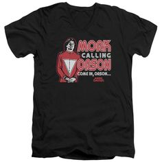 """Checkout our #LicensedGear products FREE SHIPPING + 10% OFF Coupon Code """"Official"""" Mork & Mindy / Mork Calling Orson - Short Sleeve Adult V-neck - Mork & Mindy / Mork Calling Orson - Short Sleeve Adult V-neck - Price: $34.99. Buy now at https://officiallylicensedgear.com/mork-mindy-mork-calling-orson-short-sleeve-adult-v-neck"""