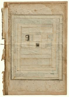 justanothermasterpiece:    Robert Ohnigian, Portrait #7,  61/2 x 91/2 inches, antique paper with engraving and string on watercolor paper.
