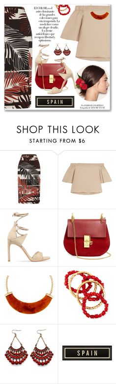 """Escúchame Mujer, Fondo Flamenco"" by blendasantos ❤ liked on Polyvore featuring Dolce&Gabbana, TIBI, Stuart Weitzman, Chloé, Arco, Kenneth Jay Lane, NEST Jewelry, tropicalprints and hottropics"