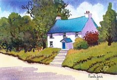Original Watercolour Welsh Cottage by Pamelajonesartstudio on Etsy