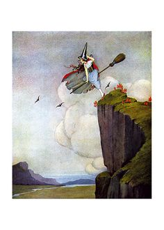 Green-Clad Witch on a Broomstick (Ida R. Outhwaite Fairies Greeting Cards)
