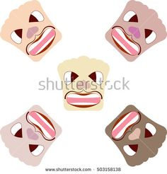 Angry caricature faces. Vector background.