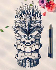 Custom tiki head design hawaiian tattoos гавайская тату, и Tiki Tattoo, Totem Tattoo, Hawaiianisches Tattoo, Polynesian Tattoo Designs, Maori Tattoo Designs, Tattoo Design Drawings, Disney Tattoos, Tiki Man, Illustration Tattoo