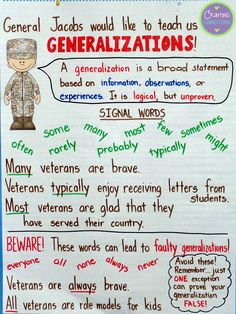 Anchors Away Monday anchor chart focusing on Generalizations & connecting to Veterans Day (includes FREEBIE!)