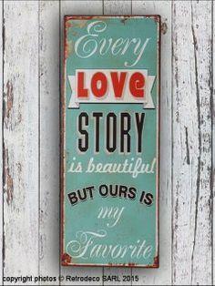 Plaque décorative Every Love Story, déco scandinave, Retrodeco