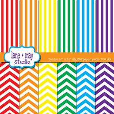 rainbow stripes and chevron scrapbook papers by lane + may on Etsy, $4.00