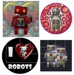 robot collage sheets for scrapbooking