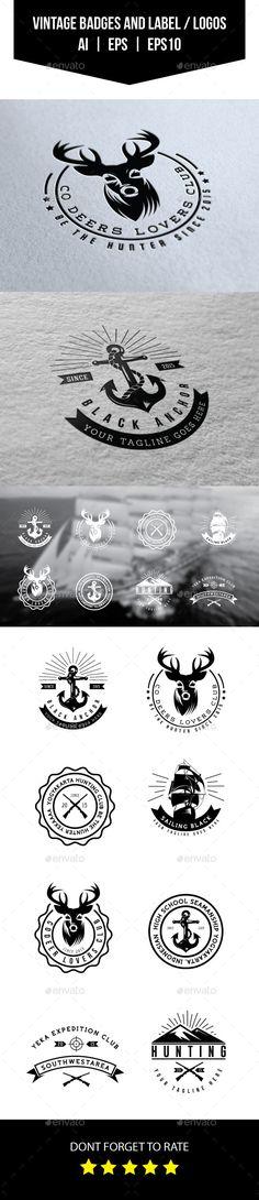 Vintage Badges and Labels / Logos Template #logo #labels Download: http://graphicriver.net/item/vintage-badges-and-labels-logos/11679569?ref=ksioks