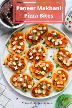 You have to try these mini paneer makhani naan pizza! Topped with the creamy makhani sauce these bite sized snack pizza make a fun snack or appetizer. #ministryofcurry #snacks Quick Soup Recipes, Curry Recipes, Easy Chicken Recipes, Quick Appetizers, Quick Snacks, Indian Food Recipes, Indian Snacks, Ethnic Recipes, Paneer Makhani