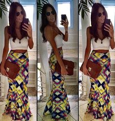 Skirt: maxi, maxi skirt, crop tops, summer outfits, summer, spring ...