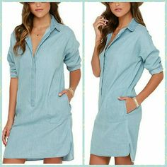"""Chambray Single Breasted Shirt Dress No size tag but fits a size medium (6/8) like me with some room. Front placket with buttons for closure, buttoned sleeve cuffs, scalloped side slits & slit pockets on the sides. Hem has hi and lo design. Blue chambray color. Soft non-stretch material and supposedly 100% cotton. Care instructions in Chinese but I machine washed it and hang dry - turned out perfect. Craftsmanship of dress is good.  Measurements: HPS to Hem: 33"""" Chest: 19."""" across Sleeves…"""