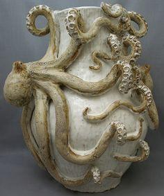 Octopus Vase (Giant Double) Ceramic Sculpture: Beach Decor, Coastal Home Decor, Nautical Decor, Tropical Island Decor & Beach Cottage Furnishings