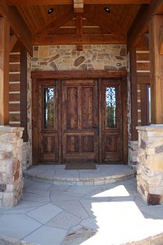 The Double Cross - Entrance by Riverbend Timber Framing, via Flickr