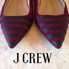 J Crew Purple With Gray Stripes Flats, Size 7 Sale! Gorgeous purple kid suede J Crew flats with gray ribbon detail across the toe box. They run a little more narrow than the normal J Crew flats. New, never been worn, with the tags still visible on the bottom. In perfect condition. Thanks so much for looking! J. Crew Shoes Flats & Loafers