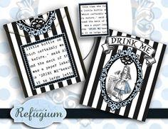 printable Tea Bag Envelope  Alice in Wonderland Drink Me  INSTANT DOWNLOAD / digital collage sheet