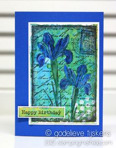Card by Godelieve Tijskens using Darkroom Door Inky Irises Collage Stamp with Distress Inks