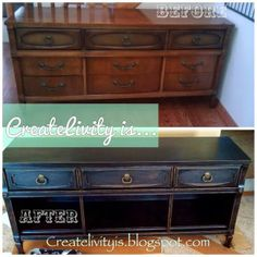 DIY: Repurposed dresser into media console