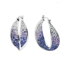 Carnevale Sterling Silver Faded Purple Wave Hoop Earrings with Swarovski Elements Amazon Curated Collection. $115.00. Made in Thailand. Save 62%!